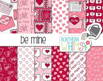 "Valentine's Digital Paper - ""Be Mine"" - pink and red envelope, heart, stamp & valentine seamless patterns - scrapbook paper - commercial use"
