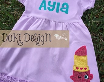 Toddler/Girls Pink or Lavender Lipstick Dress