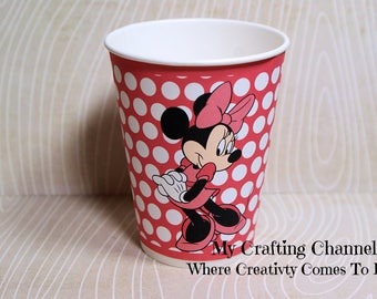 Dark Pink Minnie Mouse #1 Birthday Party Cups-Minnie-Minnie Mouse--Party Birthday Cups-Party-Birthday-Cups