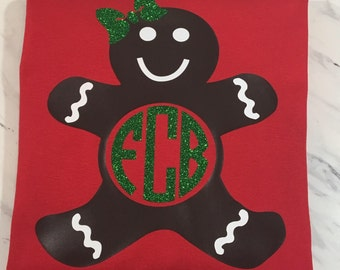 Gingerbread Man Monogram Shirt