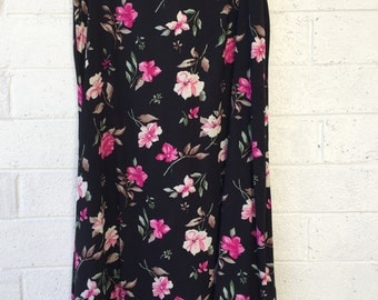 90's Black Floral Skirt with Pink Flowers by Capistrano essentials Size 18/20