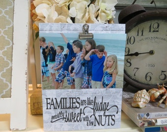 "Wood Picture Frame, ""Families are like Fudge mostly sweet with a few NUTS"", Funny Family Picture Frame, Humorous Family Photo Display"