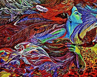 Visionary Mosaic Art - Lady Of Feathers