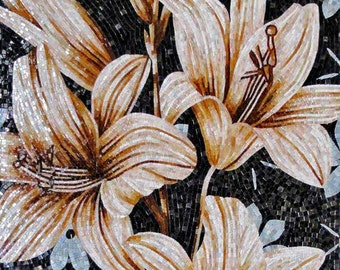 Flowers on a black background Glass Mosaic Mural
