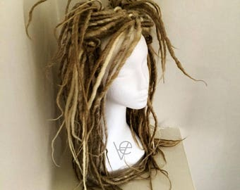 Dreadlock Extension Kit. Double ended synthetic dreads, full set. Blonde mix.