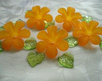 Promo!  20 Big Frosted Acrylic Flower Beads. 33mm. Biggest Orange Acrylic Flowers. Center Hole. Light & Lovely. ~USPS Ship Rates /Oregon