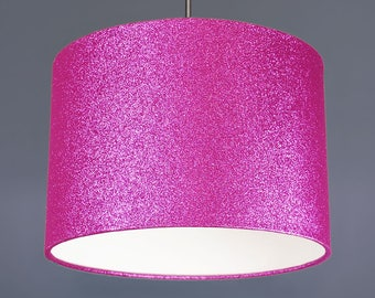 Pink Glitter Metallic Fabric Drum Lampshade Pendant
