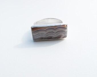 Rectangular Agate ring
