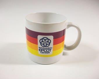 Vintage Epcot Center Mug, Walt Disney World Cup, Striped Epcot Center Mug, Florida Souvenir Mug, Epcot Center Souvenir, 1982