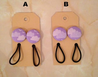 Cloud fabric button hairbobble, cloud hair elastic,  stocking filler