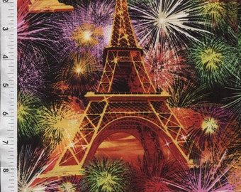"Timeless Treasures ""Paris Fireworks"" Eiffel Tower Fabric"