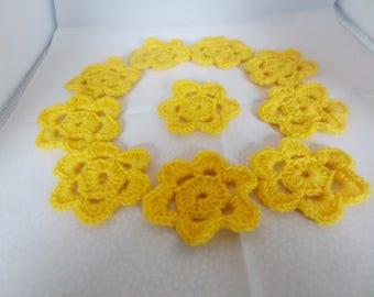 Crochet flowers, crochet appliques, flower appliques, for scrapbooking,  sunshine yellow, bright yellow,  set of ten,  embellishments