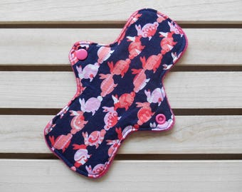 Reusable Slim Fit Panty Liner Pink Rabbit Print Cotton Bamboo Fleece Cloth Sanitary Pad