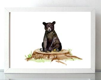 Black bear art  - bear painting - print - baby bear - black bear cub - nursery bear - illustration black bear poster - baby decor