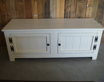 Ready to ship,  White Rustic bench , coffee table, bead board,  entry way bench,mudroom, shabby shic bench