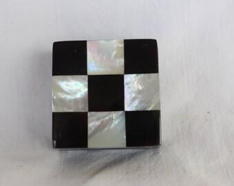 Mother of Pearl Pill box, Lacquer shell Pill case, Handbag pill case, checker board box