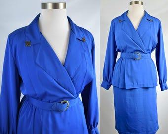 80s Plus Size Cobalt Blue Sexy Belted Peplum Dress XL