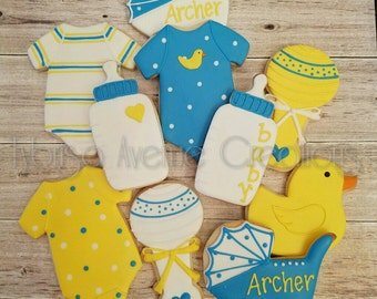 12 Baby Duck Sugar Cookies - Boy Duck Baby Shower Favors - Baby Boy Baby Shower Cookies - Rubber Duckie Baby Shower Cookies