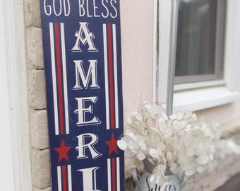4th oh July porch sign, red white and blue, patriotic, front porch, USA, rustic, farmhouse