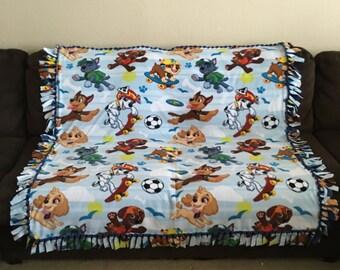 Handmade No Sew Fleece Blanket in Paw Patrol Pattern