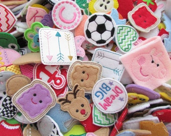 Feltie Grab Bag, 20 Feltie Grab Bag, Felt Applique, Felties, Hair Bow Center, Scrapbooking Embellishment, Felt Embellishment