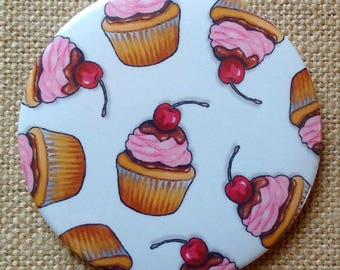 "Cupcakes Fridge Magnet , Original Art, Cupcakes with Pink Icing, Cherries, Random Pattern, 3"" Art Magnet, Food, Baking, Confection, Sweets"
