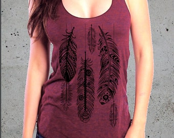 Womens BOHO FEATHERS Shirt-Best Friend Gift,Feather Tank Top-Feather T-shirt-Native American Apparel,Gifts For Her-Bohemian Clothing,