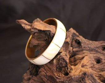 Brass and Mother of Pearl Bangle Bracelet