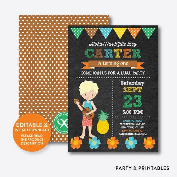 Instant Download Editable Aloha Luau Birthday Invitation Boy Party Hawaiian Chalkboard CKB35D
