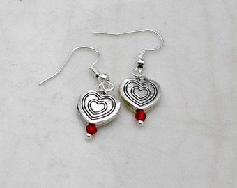 Red Swarovski Crystal, Heart Dangle Earrings, Holiday Earrings, Valentine Earrings, Gift for Her. Silver Heart Drop Earring, Heart Jewelry