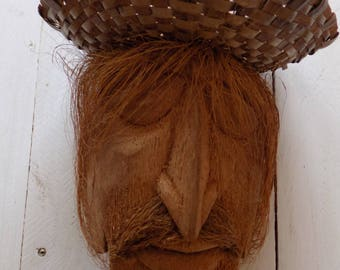 Face Carving from full coconut/Hand Craved face/Closed eyes of a man hand carved/Gift for her/gift for him/Home decor/Wedding Gift/