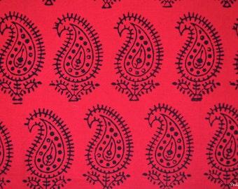 Hot pink Paisley block print fabric Indian Cotton paisley print fabric by the yard