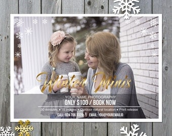 Winter marketing template - Photography mini session template - Winter mini session - Photography marketing board - INSTANT DOWNLOAD