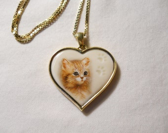 "Cats Leave Paw Prints On Our Hearts PENDANT 24K gold over Sterling Silver 20"" CHAIN"