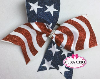 American Flag Cheer Bow