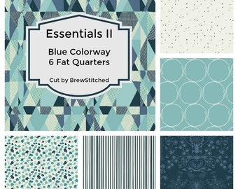 Blue Fat Quarter Bundle - Modern quilt fabric - Cotton fabric by the yard - Essentials II Azur Colorway - Art Gallery Fabric - Fat Quarter