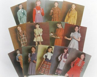 Fashion for children, Sewing, Set of 13 Soviet Unused Photo Postcards, Tutorial, Pattern, DIY,  Russian Fashion, USSR, Kiev, 1984