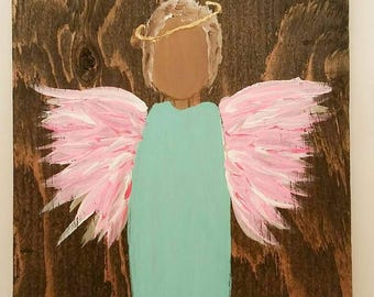 Earth Angel my Guardian Dear, hand painted Angels, Personalised Guardian Angel, child's room, Memorial, pink blue