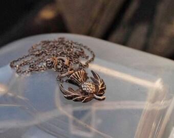 Vintage Silver Scottish Thistle  Necklace Pendant