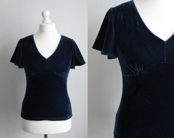 Vintage L/ XL dark blue velvet top
