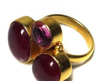 free shipping, 14 karat gold vermeil ruby ring, Synthetic ruby ring, July birthstone ring, Adjustable ring, Handmade ring, gemstone ring