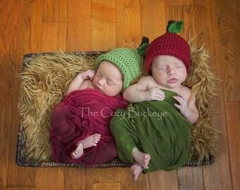 Apple Hat, Crochet Apple Hat, Twin Hats, Newborn Hat, Photography Prop, Baby Beanie, Crochet Baby Hat, Teacher