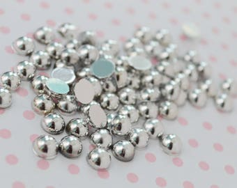 6mm Kawaii Metallic Silver Hemisphere Pearl Flatback Decoden Cabochons - 50 piece set