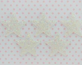 38mm Glitter Iridescent Star Flatback Resin Decoden Cabochon - 5 piece set