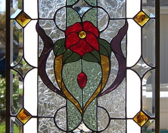 Stained Glass Window Hanging 21 3/4 X 15 3/4