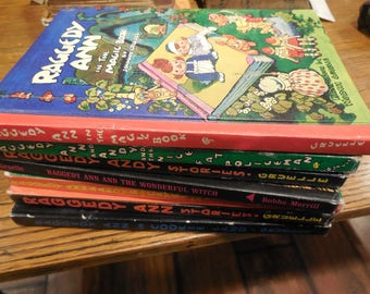 Large 7 Book Set Of Raggedy Ann and Andy Johnny Gruelle 1960s Near Fine