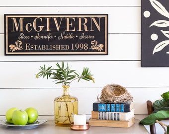 Fifth Anniversary Gift, Family Established Sign, Family Name Sign,  Personalized Established Plaque, Wood Anniversary Gift, 9x23