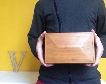 Antique wooden box. Old wooden box with geometric lid. Felt interior. Trinket box storage box jewellery box.