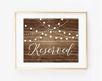 Printable Wedding Sign, Reserved Sign, Country Chic, Fall Wedding, Rustic Wedding, Reserved Wedding Sign, Printable Reserved Sign #CL101