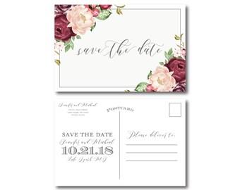 Vintage Floral Wedding Save the Date, Vintage Floral, Save-the-Date, Floral Wedding, Vintage Wedding, Save the Date, Wedding Postcard #CL338
